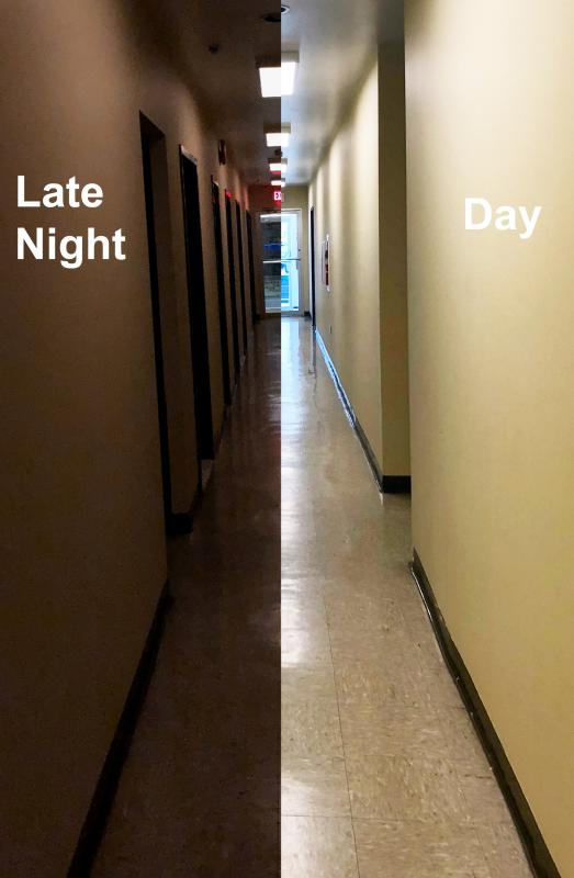 Main corridor late at night vs day.