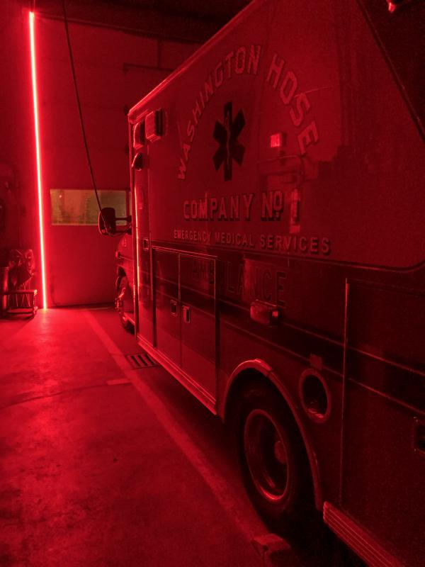 The red interior LED light strips also aid in preserving night vision when responding to calls at night.