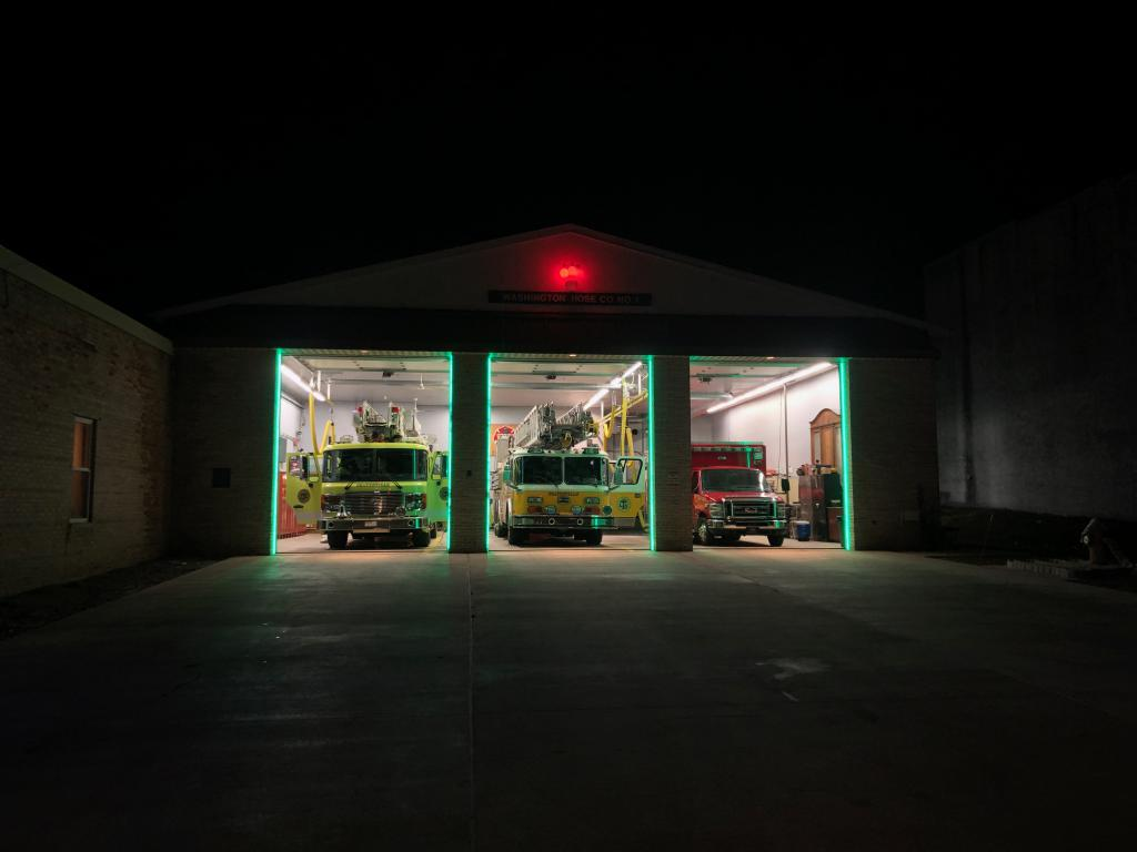 Green LEDs indicate the bay doors are open and apparatus drivers know it is safe to cross the threshold.